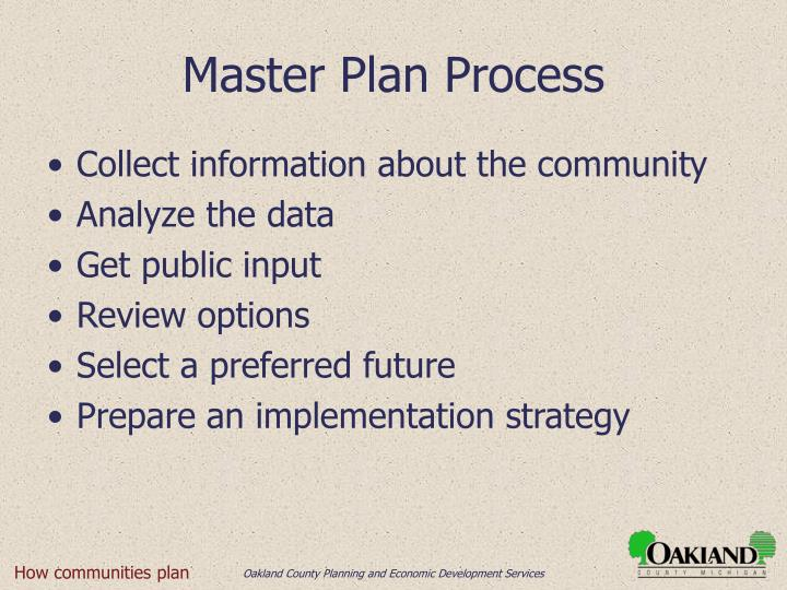 Master Plan Process