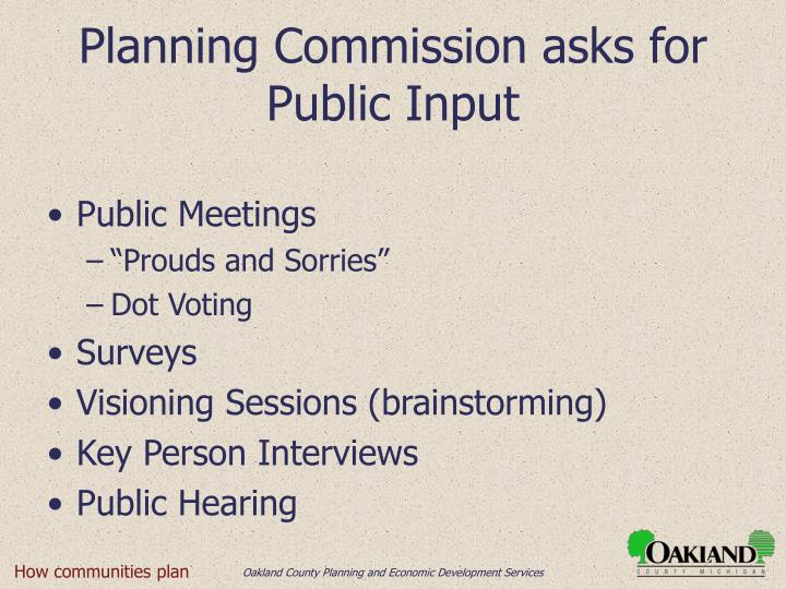 Planning Commission asks for Public Input