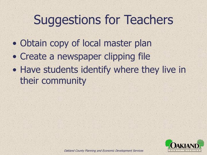 Suggestions for Teachers