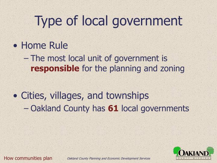 Type of local government