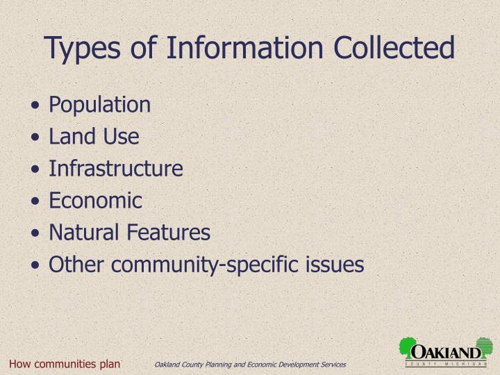 Types of Information Collected