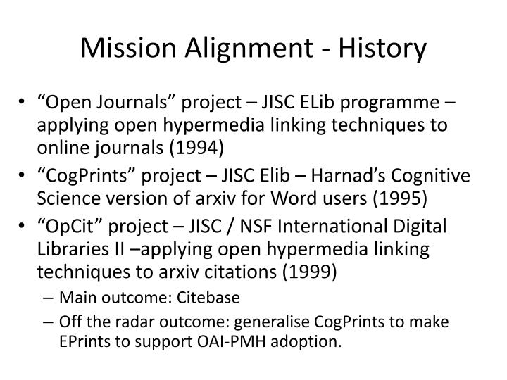 Mission Alignment - History