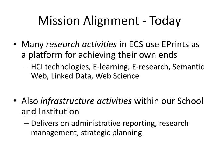 Mission Alignment - Today
