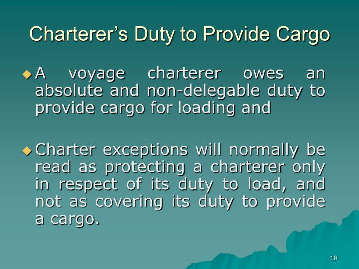 Charterer's Duty to Provide Cargo
