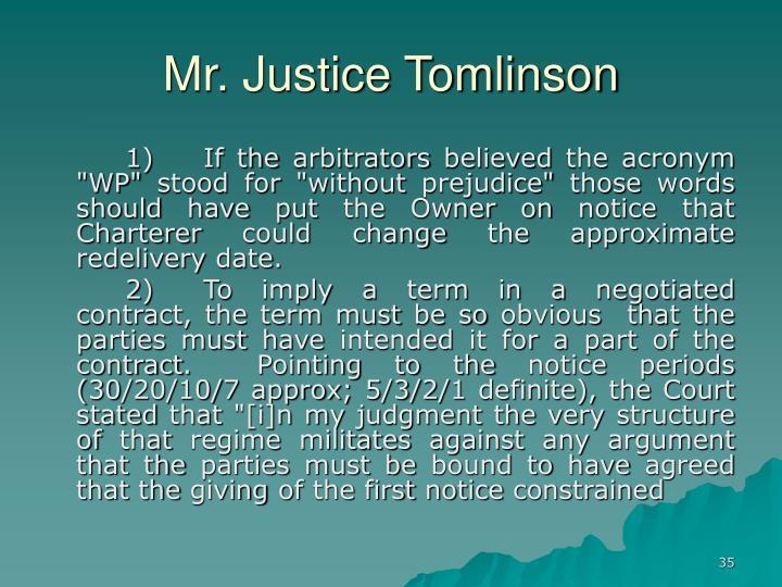 Mr. Justice Tomlinson