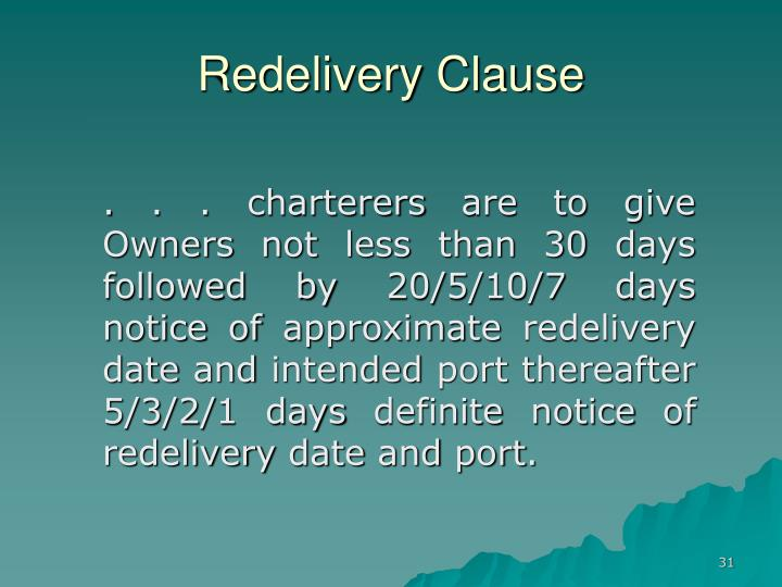 Redelivery Clause