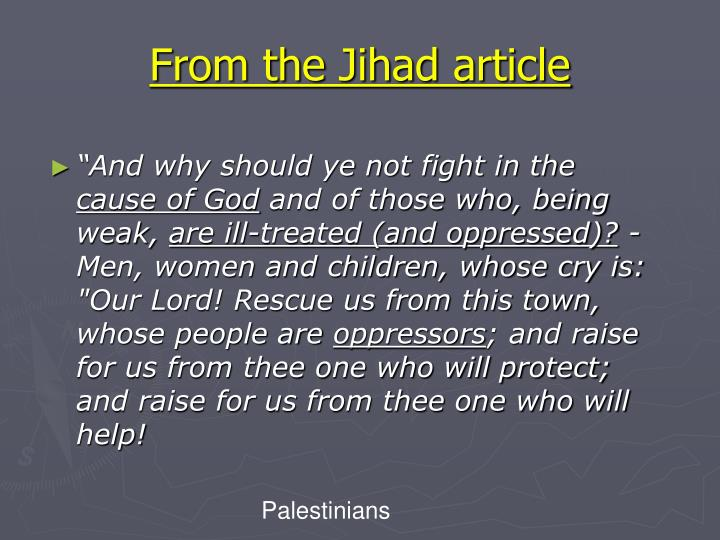From the Jihad article