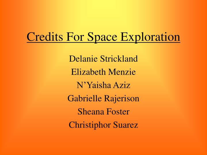 Credits For Space Exploration