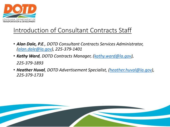 Introduction of consultant contracts staff