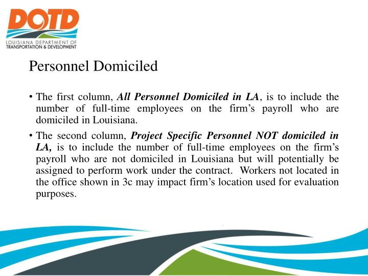 Personnel Domiciled