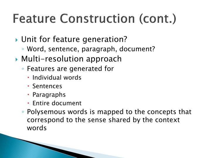 Feature Construction (cont.)