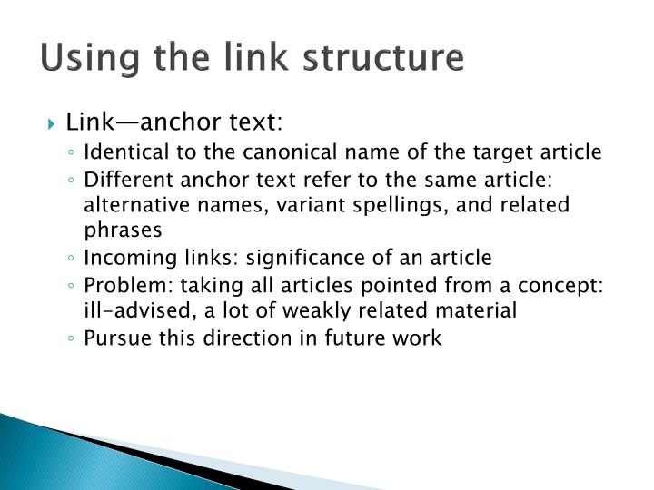 Using the link structure