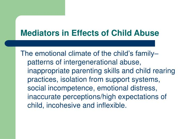 Mediators in Effects of Child Abuse