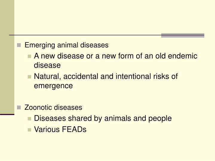 Emerging animal diseases