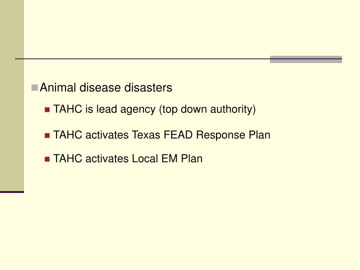 Animal disease disasters