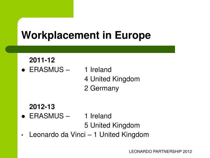 Workplacement in Europe