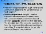 reagan s first term foreign policy