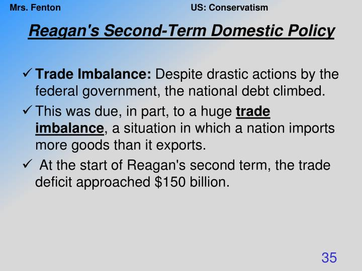 Reagan's Second-Term Domestic Policy
