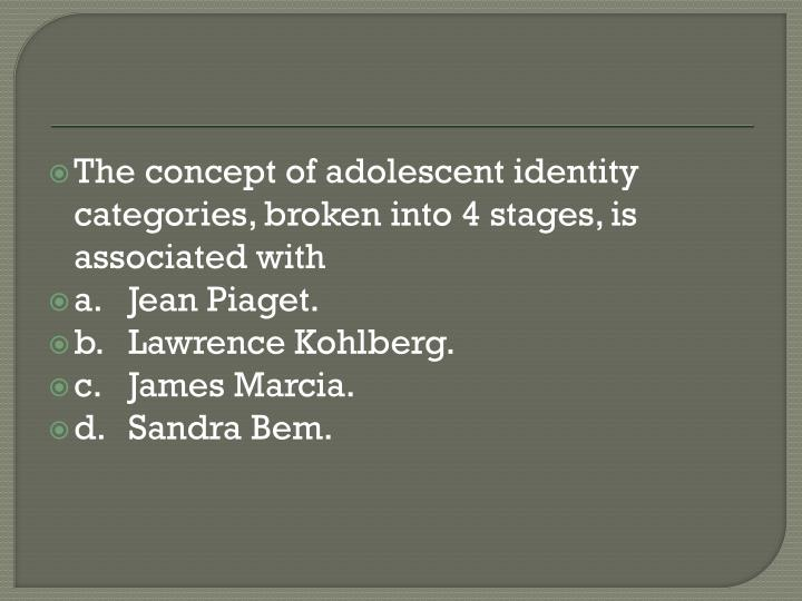 The concept of adolescent identity categories, broken into 4 stages, is associated with