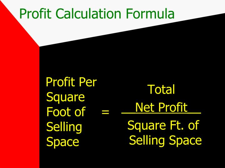 Profit Per Square Foot of    =  Selling Space