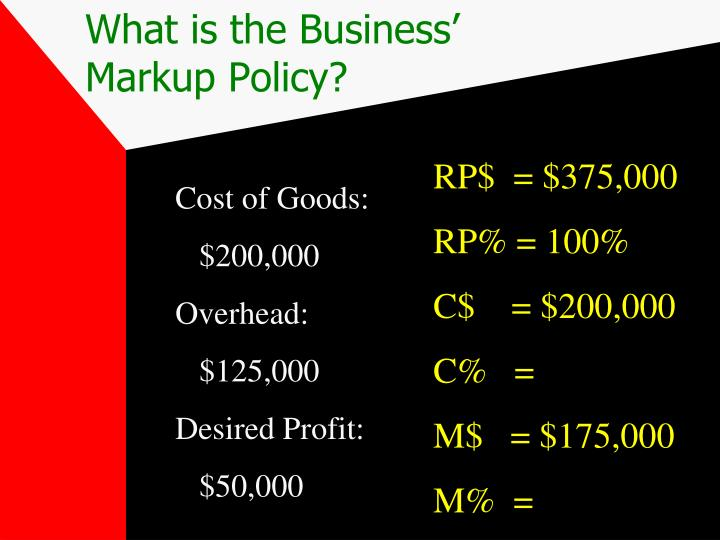 What is the Business' Markup Policy?