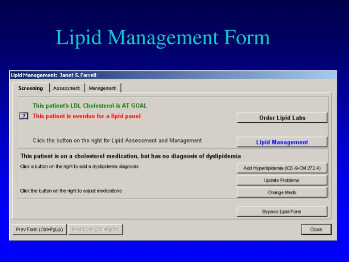 Lipid Management Form