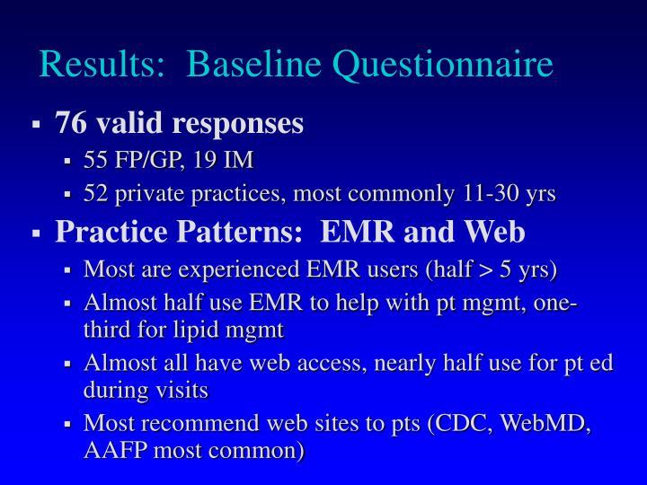 Results:  Baseline Questionnaire