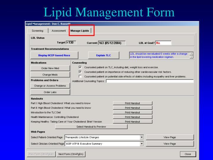 Lipid Management Form