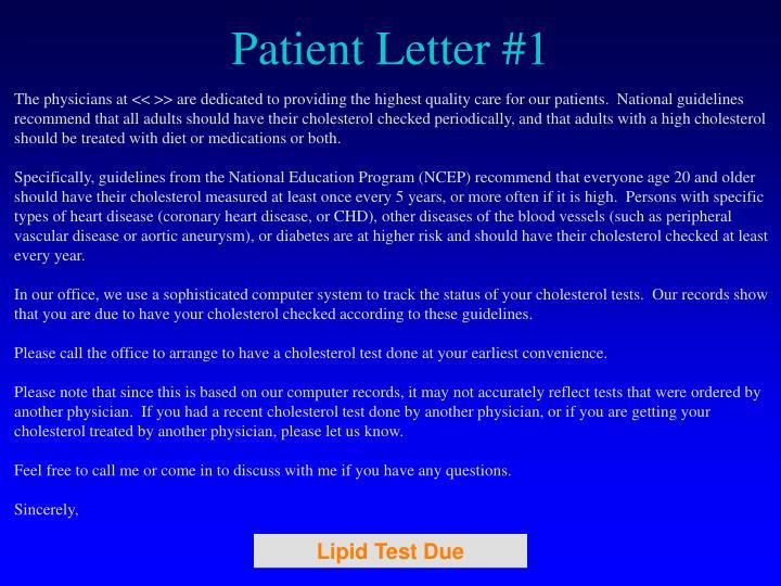 Patient Letter #1