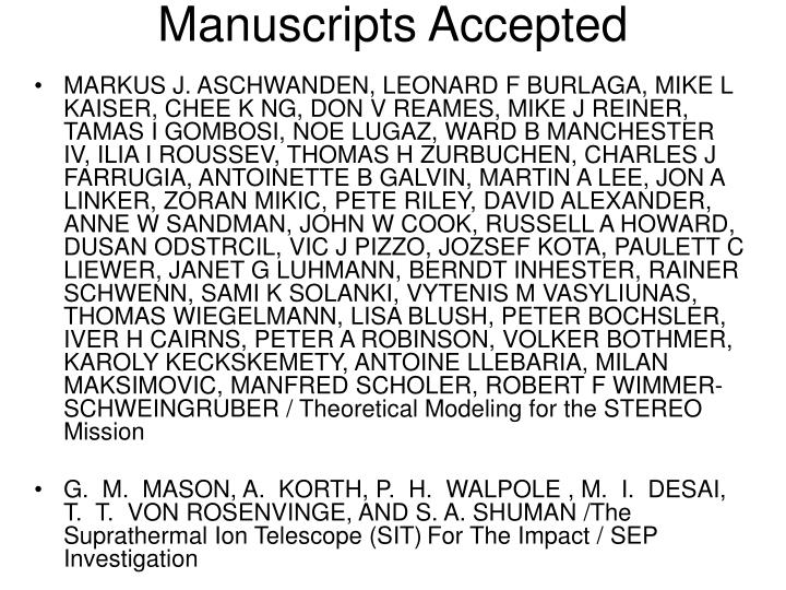 Manuscripts accepted