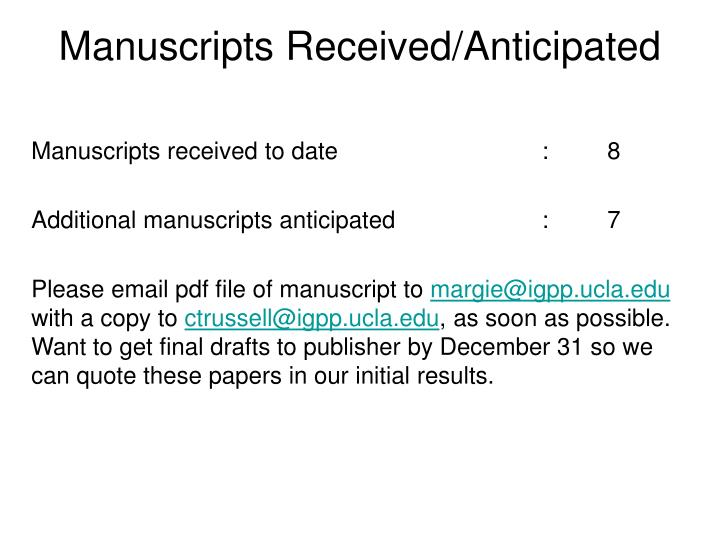 Manuscripts received anticipated