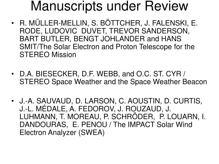 Manuscripts under Review