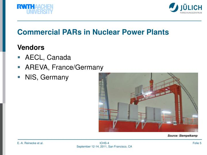 Commercial PARs in Nuclear Power Plants