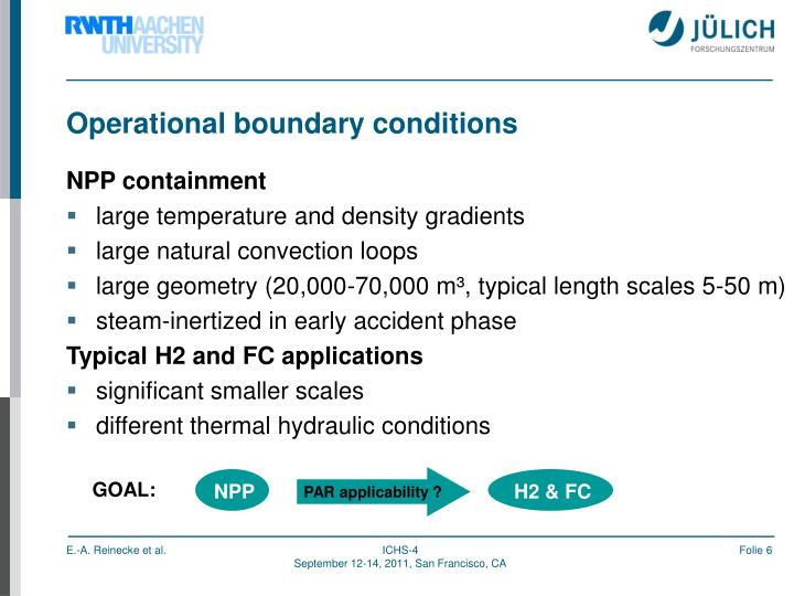 Operational boundary conditions