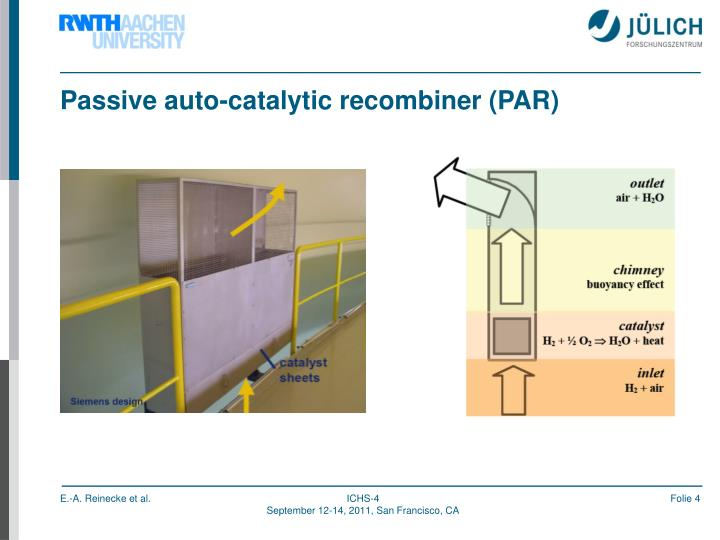 Passive auto-catalytic recombiner (PAR)