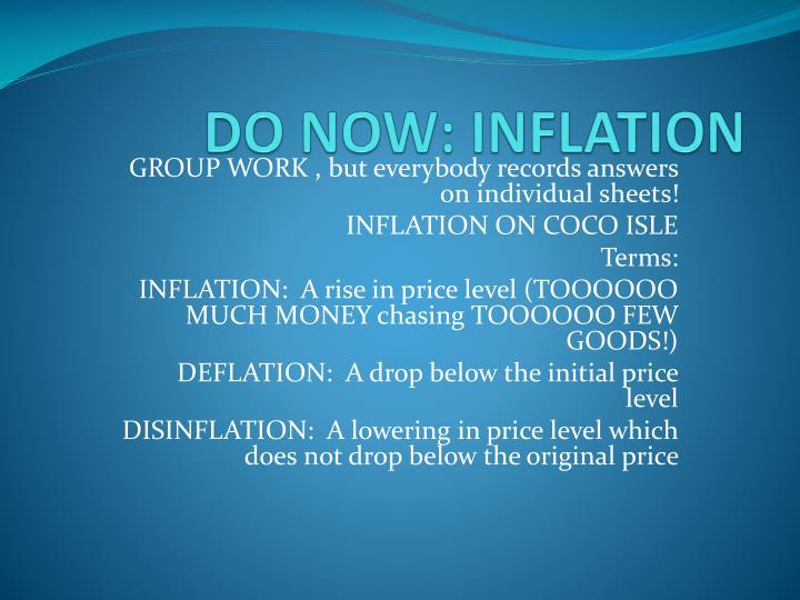 Do now inflation