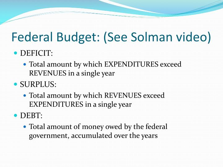 Federal Budget: (See