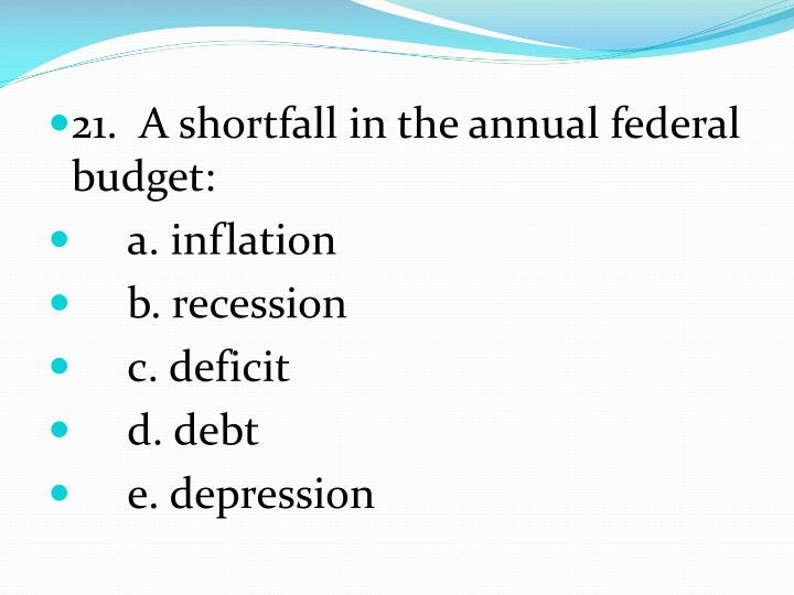 21.  A shortfall in the annual federal budget: