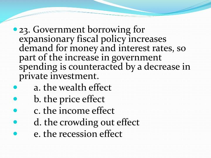23. Government borrowing for expansionary fiscal policy increases demand for money and interest rates, so part of the increase in government spending is counteracted by a decrease in private investment.