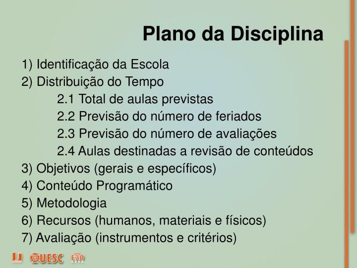 Plano da Disciplina