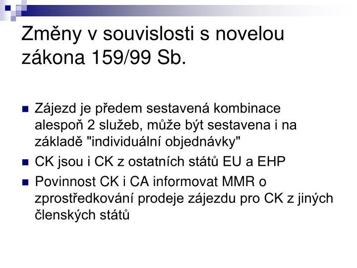 Změny v souvislosti s novelou zákona 159/99 Sb.