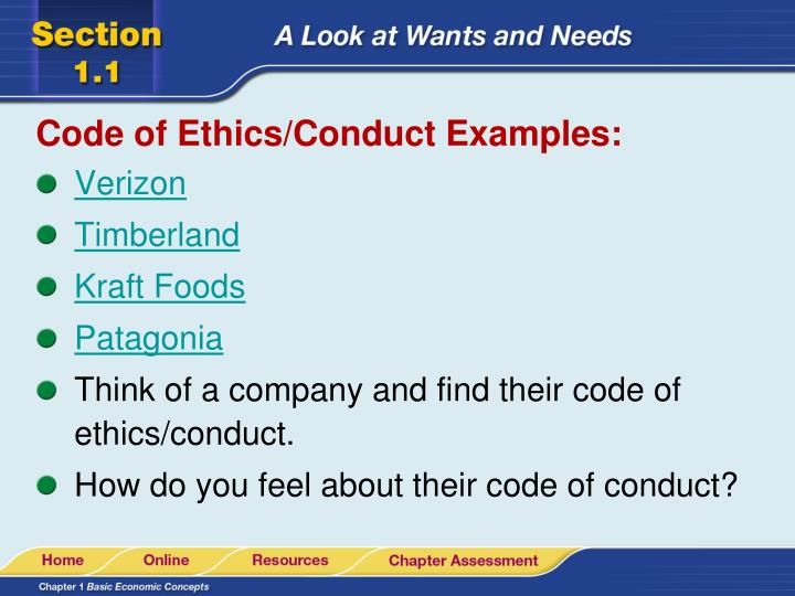 Code of Ethics/Conduct Examples: