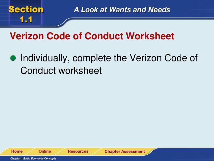 Verizon Code of Conduct Worksheet