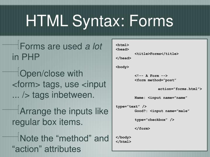 HTML Syntax: Forms