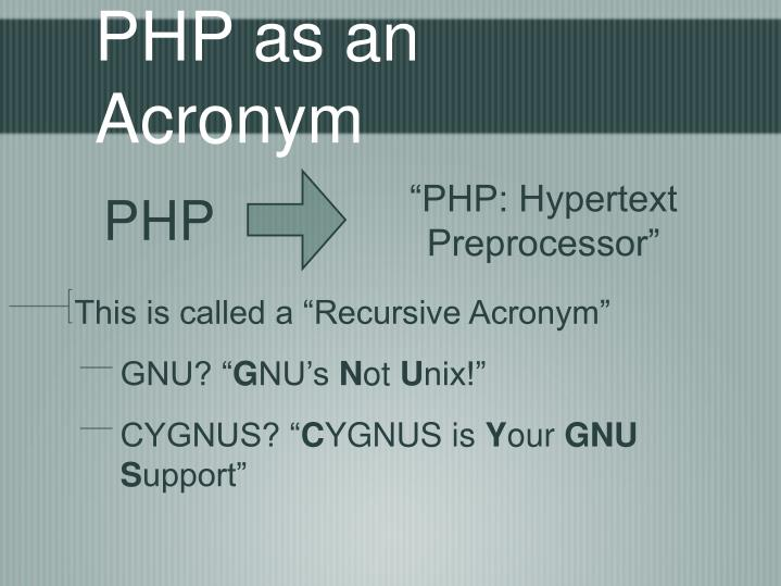 Php as an acronym