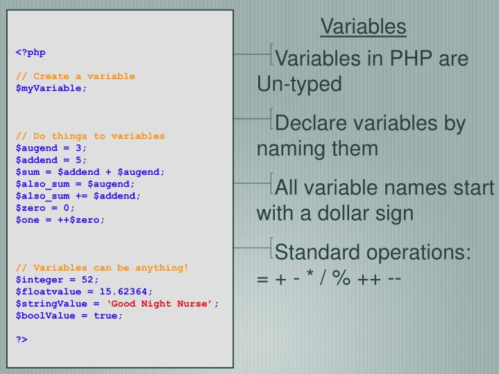 Variables in PHP are Un-typed