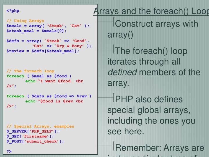 Construct arrays with array()