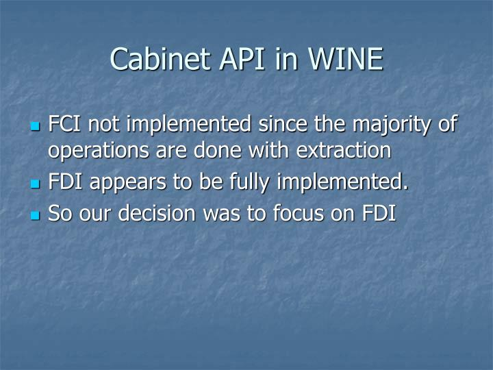Cabinet API in WINE
