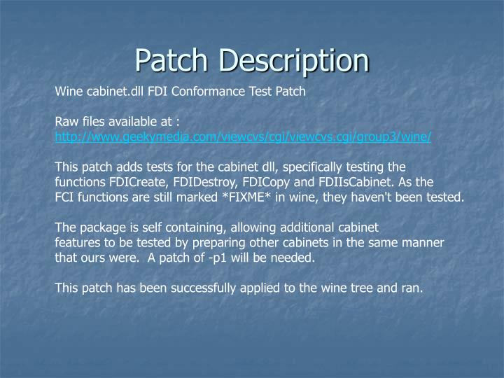 Patch Description