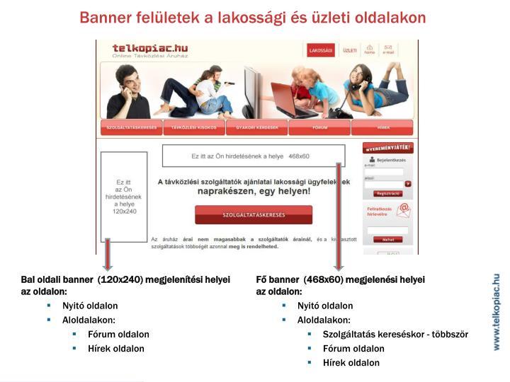Banner felületek a lakossági és üzleti oldalakon